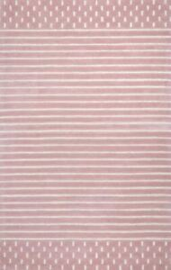 Morse Awning Stripes Pink Hand-Tufted 100% Wool Soft Area Rug Carpet.