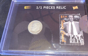 2020 THE BAR PIECES Relic HYBRID Pat Riley Stamp & ROOSEVELT DIME 90% Silver 1/1