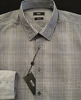 HUGO BOSS Men's L/S Shirt XL X-Large Reg Fit Gray White Checked LUKAS NWT $145