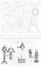 DECORATIVE. Mensuration; Lamp 1849 old antique vintage print picture