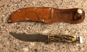 Vintage Case Bone Handle Knife & Leather Sheath