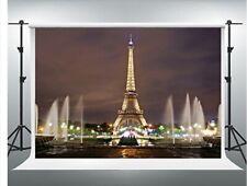 7x10ft Vinyl Paris Eiffel Tower Night Fountain Photo Studio Backdrop Gensen