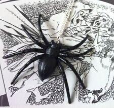 VINTAGE Halloween Goth Hipster LARGE BLACK WIDOW SPIDER COLLANA