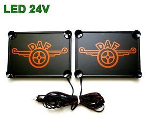 2x LKW LED Schilder Leuchtschild Namenschild DAF 2x 15x18cm 24V Orange