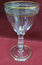 """CAMBRIDGE crystal LAUREL stem 1936 Water Goblet - Gold Trim - 7-1/8"""""""