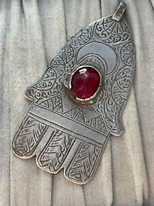 Large Antique Silver Moroccan Hamsa Pendant Red Glass Engraved AF Repair 22.8g
