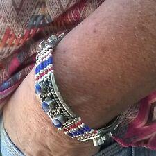 Pulsera lapislázuli y coral plata alemana pulsera Nepal étnica boho unisex