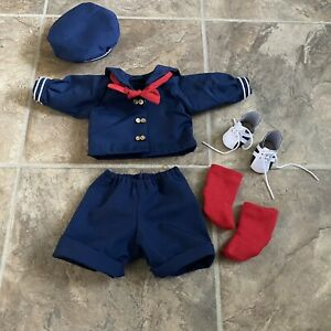 """VTG Sailor Nautical Doll Outfit Jacket Pants Hat Shoes Red Socks Fits 13"""" Doll"""