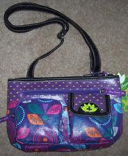 NWT Lily Bloom Eco-Shine Purple/Pink/Teal FLORAL Wonderlust Crossbody Purse Bag