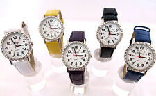 Faux Leather Strap Polished Wristwatches with 12-Hour Dial