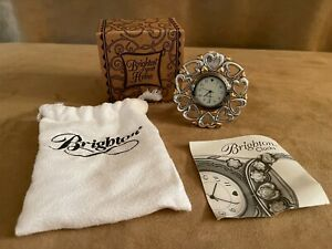 Brighton Circle Heart Shaped Mini Silver tone Clock travel desk top easel travel