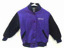 American Girl Gear Varsity Jacket Coat Size S Small Wool Blend Purple Black
