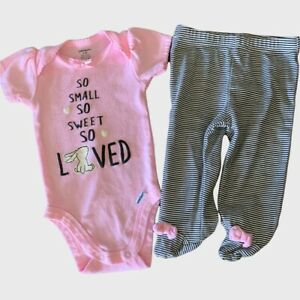 baby girls gerber 0-3 month bunny so small sweet loved footed pants outfit