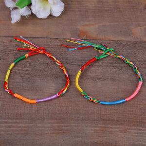 10pcs Mix Colour Handmade Cord Woven Rainbow Friendship Wristband Bracelet UK