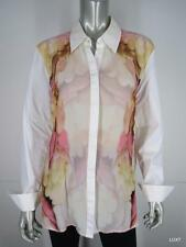 ESCADA 42 12 White Cotton Silk Floral Pink Brown Multi Button Up Blouse Top