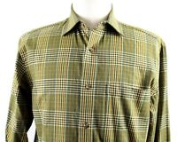 NEW Orvis Luxury Cotton Wool Spread Collar Shirt MENS MEDIUM Olive Green Plaid