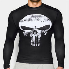 The Punisher Skull Athletic Crew Neck Gym T-shirt Fitness Bodybuilding Tee wt