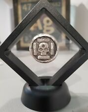 1 oz 999 Silver hand poured iron cross skull 3d momento mori pirate Framed NEW!