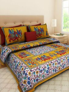Cotton Printed Double Bedsheets with 2 Pillow Covers