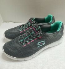 Skechers Relaxed Fit Memory Foam Slip On Sneakers Gray/green  Womens Size 9