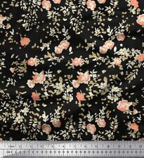 Soimoi Fabric Leaves & Floral Artistic Printed Fabric 1 Yard - AR-1049A