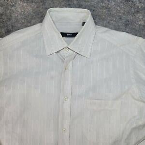 Hugo Boss Selection Men's Dress Shirt White Striped Long Sleeve Size 39 15 1/2