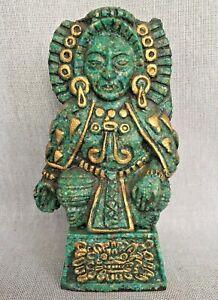 Vintage El Arte Azteca Artefact Artesania Mexicana Reproduction Statue Malachite