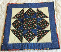 Patchwork Quilt Table Topper, Star with Triangles, Floral Calicos, Blue & White