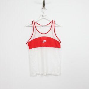 AF34 Vtg NIKE Sportswear Tank Top Vest Shirt 80s Men Red White Mesh Rare Retro S