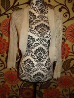 WOMENS WORTHINGTON LONG SLEEVE OPEN SHORT CARDIGAN KNIT BEIGE MEDIUM SWEATER