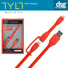 Genuine TYLT Apple MFI Lightning Charge Micro USB Cable iPhone Smartphones Red