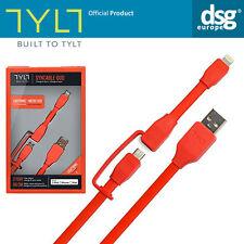 Genuine Tylt Apple MFI Lightning Carica Micro USB Cavo iPhone Smartphone Rosso