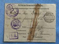 Lager Strasburg Westpreussen - Seltene POW Kriegsgefangenensendung von 1918