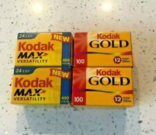 Kodak Max/Kodak Gold Film Roll lot- 35mm Color rolls- 4 Sealed Rolls New in Box