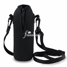 Camping 1L Water Bottle Carrier Insulated Cover Pouch with Holder Shoulder Strap
