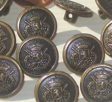 Set 14 Military Style Vintage Antiqued Brass Metal Buttons