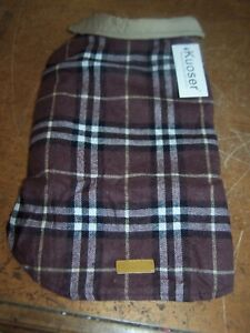 Plaid Flannel Dog Coat Jacket Waterproof Windproof Cold Weather Sz Medium