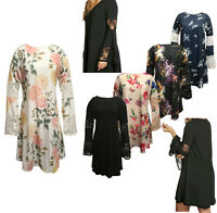 New Womens Ladies Lace Paneled Flute Sleeve Swing Dress Summer Dress Size 14- 24