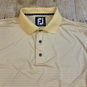 FootJoy Prodry Lisle FJ Men's Yellow Striped Polo Golf Shirt Medium