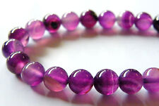 50pcs 8mm Round Natural Gemstone Beads - Bright Violet Agate