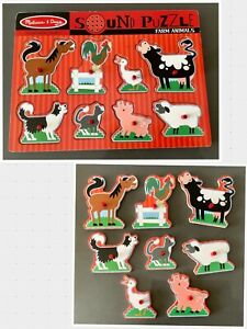 Melissa And Doug Farm Animals Sound Puzzle Wooden 8 Peg Puzzle And Sound Effects