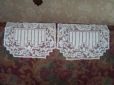 "Vintage Hand Crochet Chair Back Doilies Pair Off White 13 1/4"" x 10"" Paisley"