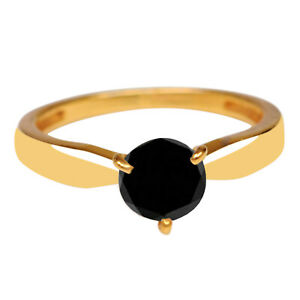 14KT Real Yellow Gold & 1.50Ct 100% Natural Black Diamond Solitaire Women's Ring