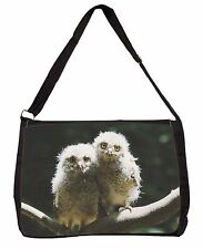 Baby Owl Chicks Large Black Laptop Shoulder Bag School/College, AB-O9SB