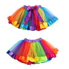 Children Girls Petticoat Rainbow Pettiskirt Bowknot Skirt Tutu Dancewear Dress