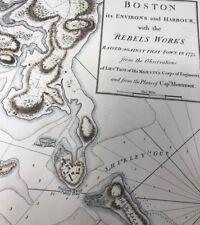 1775 Revolutionary War rebel plans Boston area and harbor attractive repro color