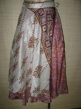 "New VINTAGE Silk sari wrap SKIRT / DRESS FREESIZE (8-16 best) 30"" Long (code48)"