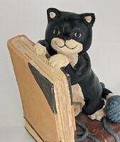 Vintage Playful Kittens Resin Bookends : Black White & Orange Tabby Kittens Yarn