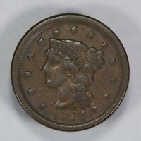 1851 1c BRAIDED HAIR LARGE CENT, VF COIN LOT#T645