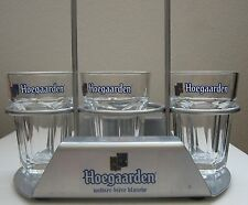 Hoegaarden Three 4 oz  Beer Tasting Glass Beer Flight Glasses and Tray Caddy